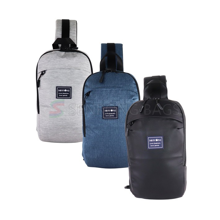 Customized men's small breastbag USB rechargeable recreational backpack student sports shoulder straddle bag