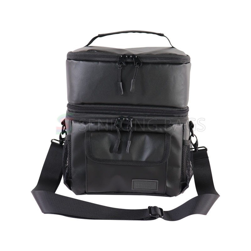 Fashion design double-deck picnic cooler bags big capacity insulated lunch bags