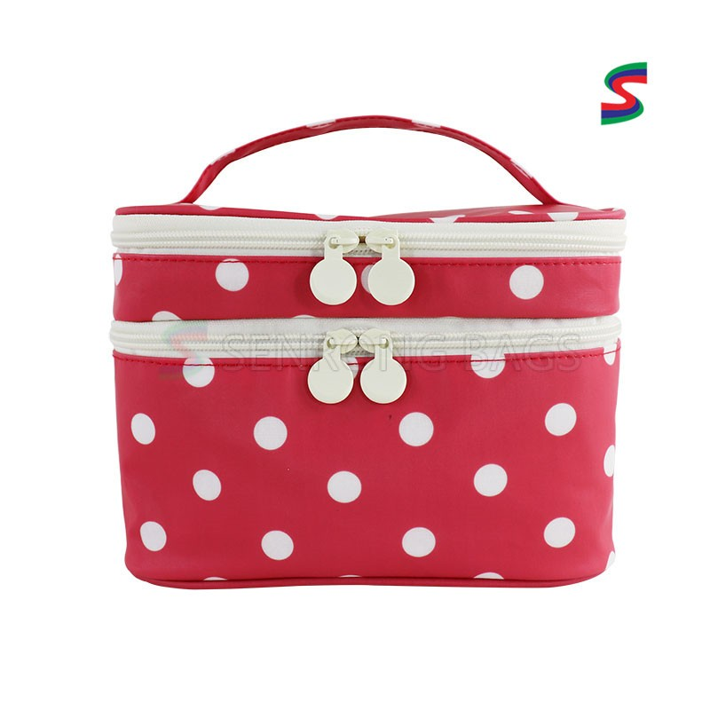 Double-deck  Wholesale Travel Toiletries Bag Classical Design Women Cosmetic Bag Wave Point Wash Gargle Bag