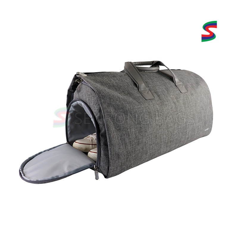 Black Unisex Gym Duffel Bag Sports Duffle Bag with Shoe Compartment