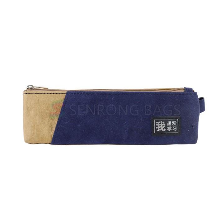Wholesale promotional school zipper pencil pouch office stationery canvas stitching nylon mesh pencil case bag