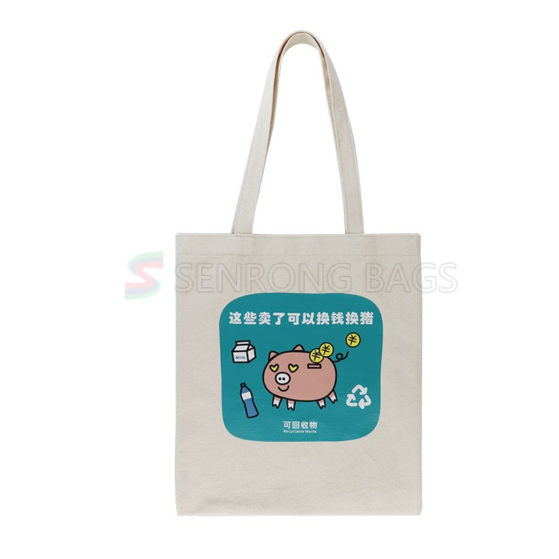 Garbage sorting factory supply shopping use promotion canvas cotton tote bag
