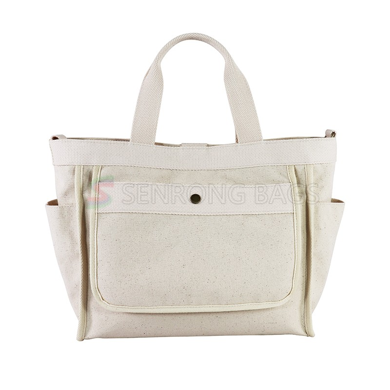 Fashion wholesale custom monogram canvas expandable file tote bags for women with pocket
