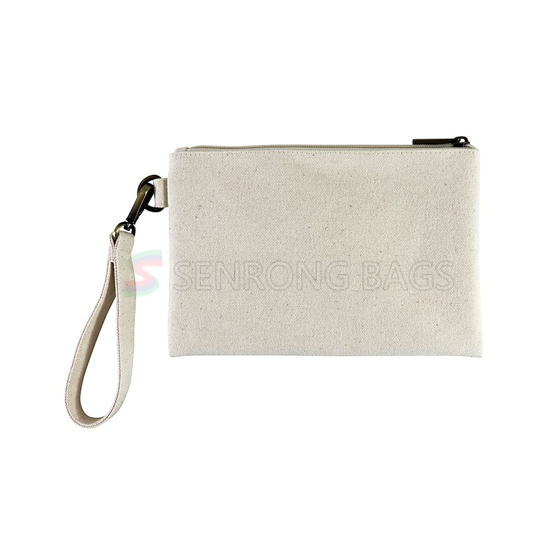 Custom Eco Recycling Women Natural Canvas Cosmetic Brush Lipgloss Pouch Makeup Zipped Eyelash Bag Organizer