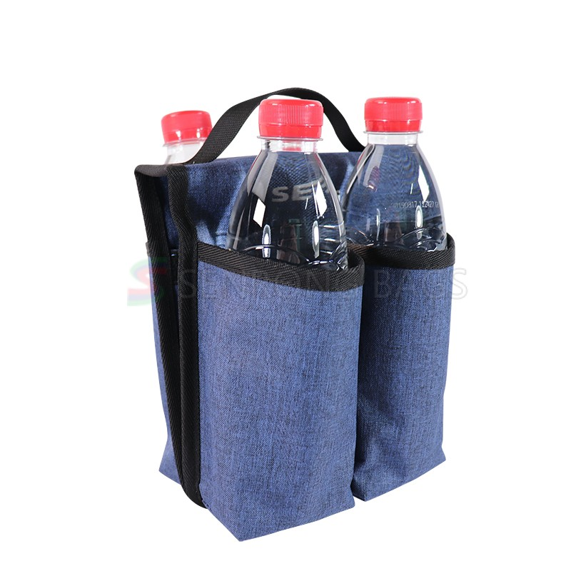 Promotion Gift Woven Polyester Shopping Bag 4 Bottles Wine Tote Carry Bottle Bag with Handles