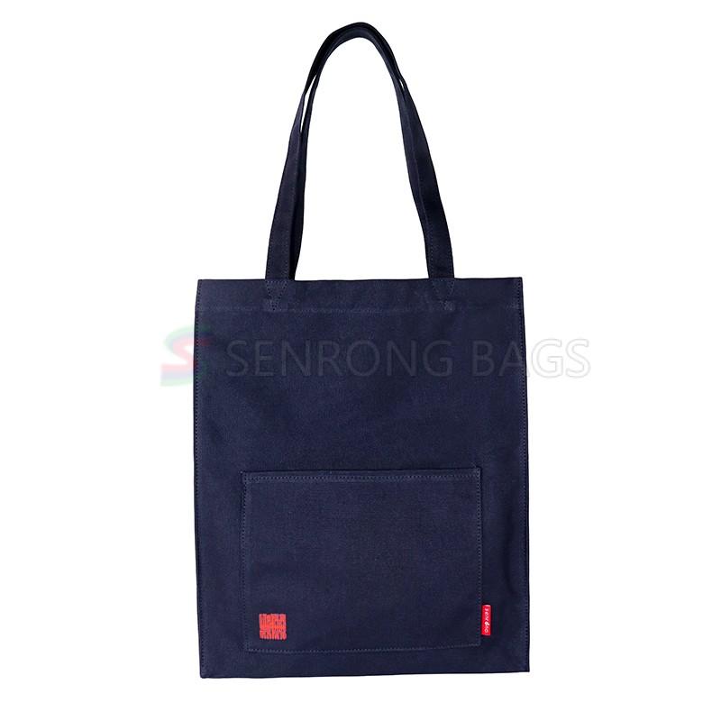 custom black white canvas cotton bag with zipper pocket attractive design OEM