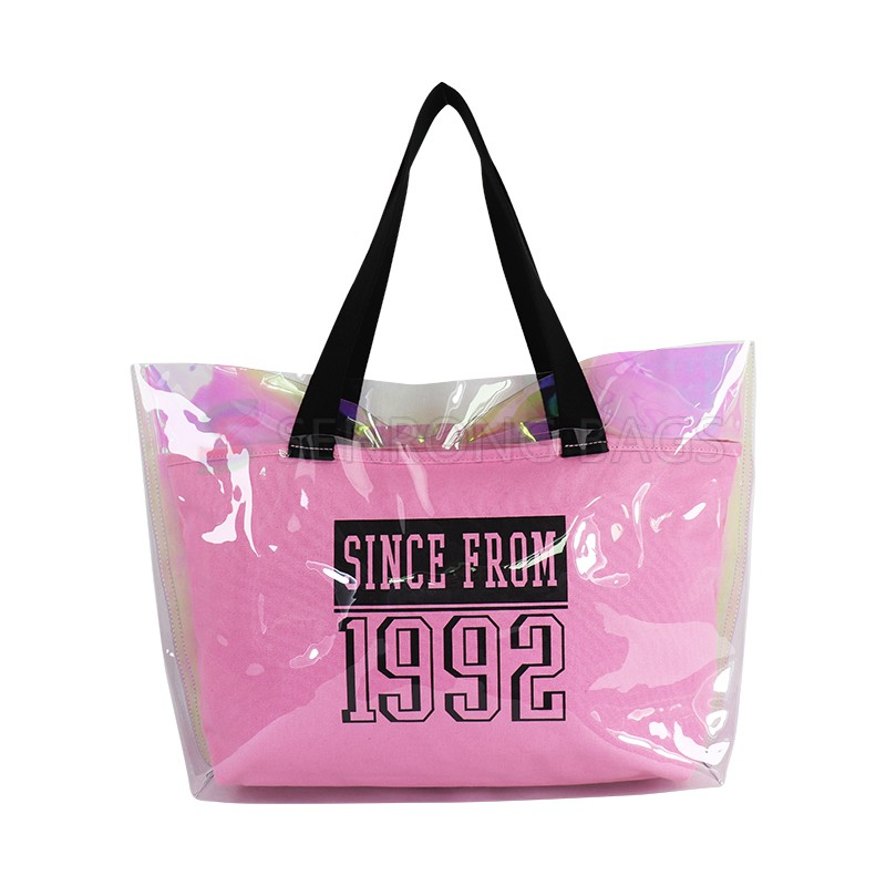 2019 Fashion Candy Color Female Transparent Jelly Tote Bag Clear Single Shoulder Mother Beach Handbag  Tote Bag with Custom Logo