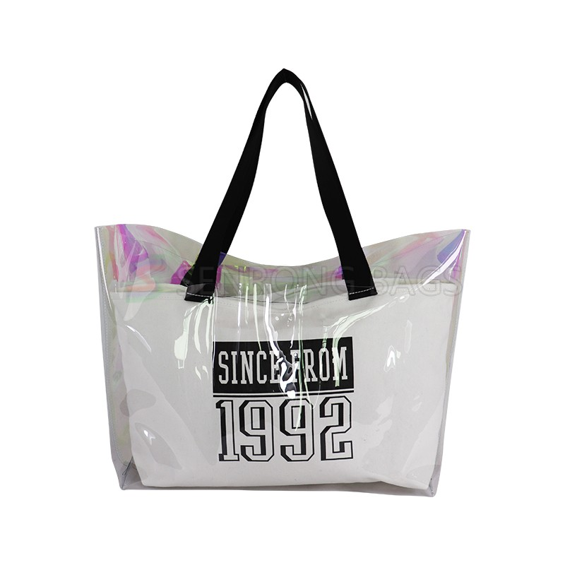 Transparent Jelly Pack Korean version of the tide Tote mother bag fashion letter hit color shoulder bag
