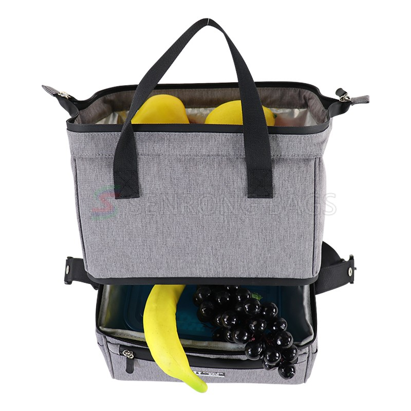 100% Recyclable Polyester Wear proof Thermal double-deck Cooler Bag