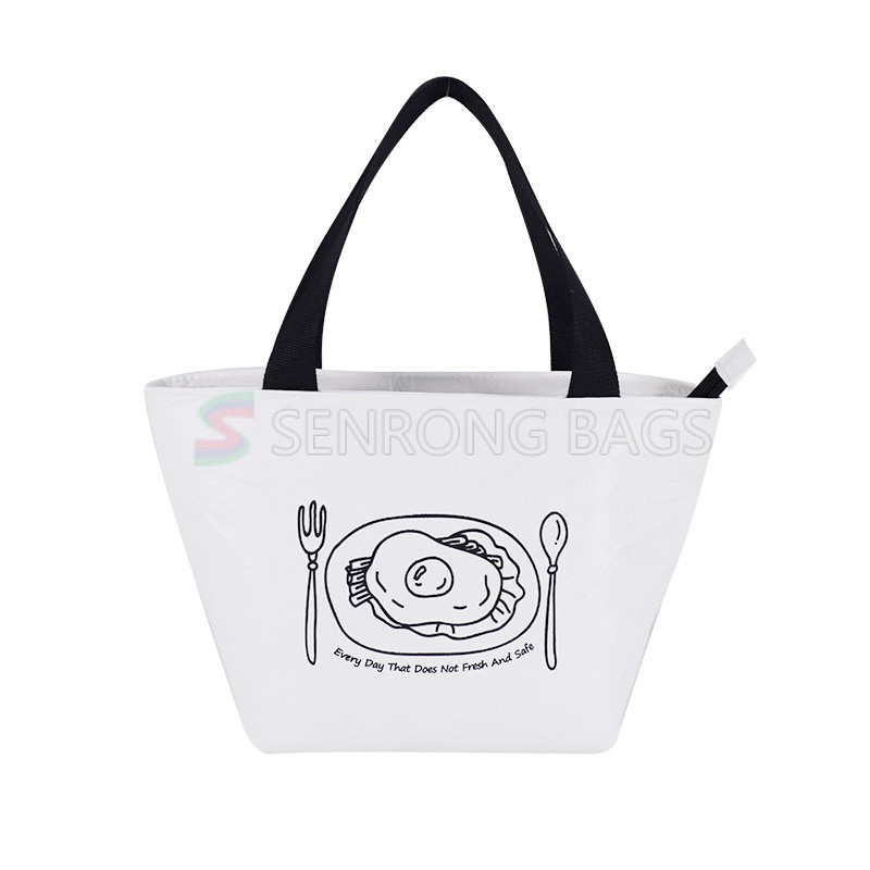 Fashion simple handle lunch bag customize logo waterproof cooloer bag insulated Tyvek  lunch bag