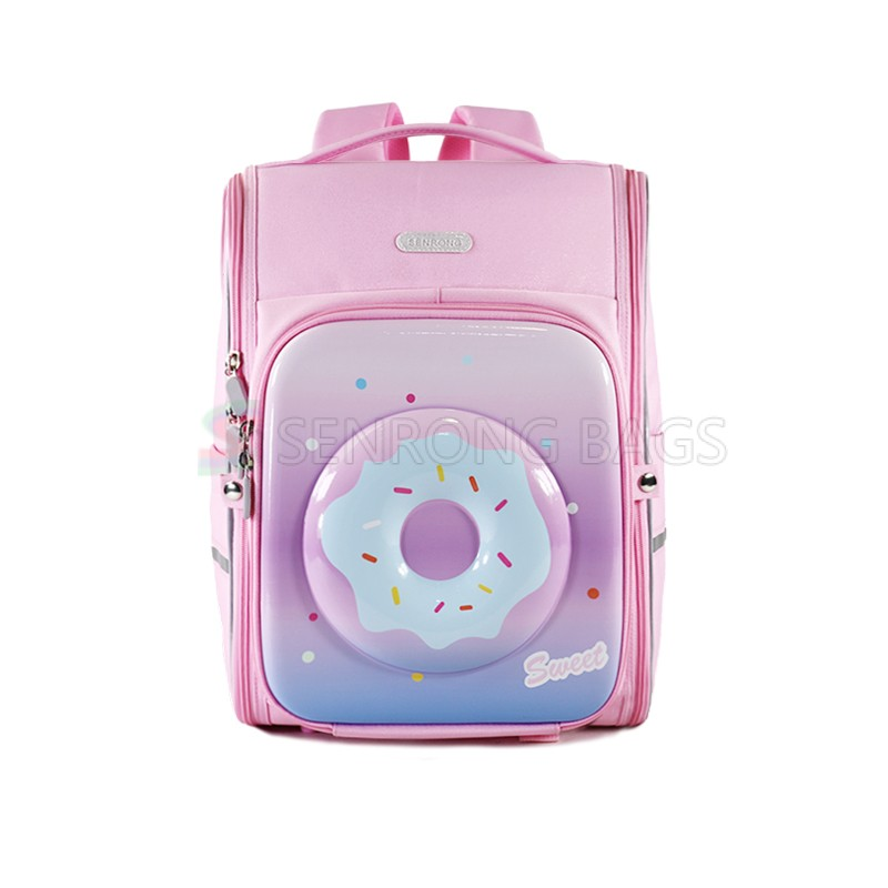 360 Wide Opening Folding Pink Doughnut Pattern Kids Stationery Backpack school bag for girls